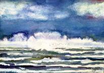 Meer, Welle, Himmel, Aquarellmalerei