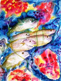 Aquarellmalerei, Riff, Meer, Unterwasserleben