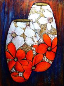 Acryl auf leinwand, Acrylmalerei, Blumen, Malerei