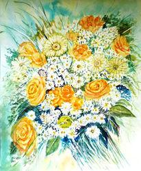 Blumenstrauß, Aquarellmalerei, Stillleben, Aquarell