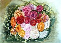 Aquarellmalerei, Stillleben, Blumenmalerei, Blumenstrauß