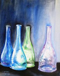 Farben, Stillleben, Grün und violet, Flaschen blau