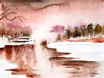 Winterlandschaft, Baum, Fluss, Aquarellmalerei