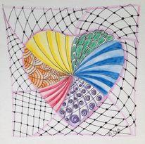 Regenbogenfarben, Herz, Aquarellstifte, Vernetzung