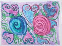 Gekritzel, Fantasie, Herzen, Zeichnung