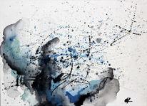 Spritztechnik, Blau, Gouachemalerei, Wasser