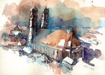 Dom, Aquarellmalerei, Liebfrauendom, Wahrzeichen
