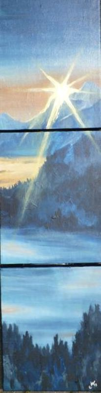 Nebel, Acrylmalerei, Sonne, Blau