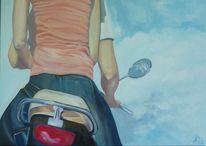 Himmel, Unterwegs, Roller, Malerei