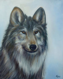 Tiere, Wolf, Tierportrait, Malerei