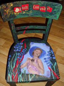 Alte stühle, Bemalte stühle, Romantik, Acrylmalerei