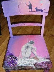 Bemalte stühle, Lustig, Collage, Mischtechnik