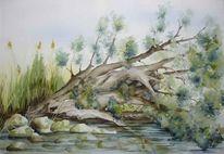 Aquarellmalerei, Hochwasser, Baum, Bielersee