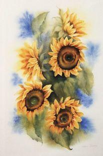 Sonne, Sonnenblumen, Blumen, Aquarell