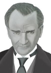 Atatürk, Zeichnen, Kohlezeichnung, Bleistiftzeichnung