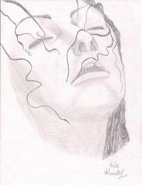 Bleistiftzeichnung, Zeichnung, Mädchen, Kohlezeichnung