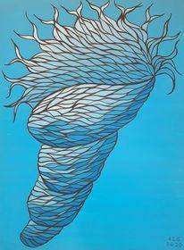 Nautilus, Blautöne, Fantasie, Acrylmalerei