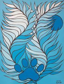 Malerei, Feder, Blau, Nond