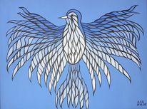 Blau, Malerei, Vogel