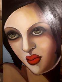 Portrait, Art deco, Augen, Blick