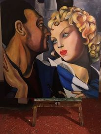 Frau, Mann porträt, Lempicka, Malerei