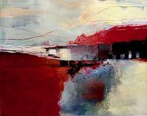 Modern, Landschaft, Acrylmalerei, Malerei