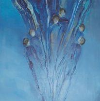 Acrylmalerei, Menschen, Abstrakt, Blau