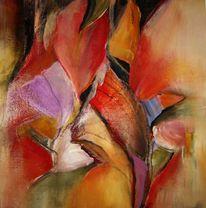 Acryl auf leinwand, Malerei, Blumen