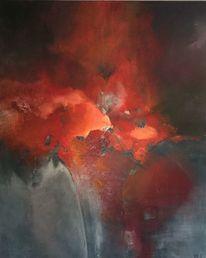 Acryl auf leinwand, Blumen, Rot, Malerei