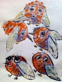 Biene, Gruppe, Treffen, Malerei