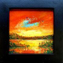 Abstrakte landschaft, Abendstimmung, Spachteltechnik, Malerei