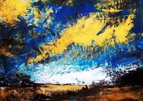 Spachteltechnik, Landschaft, Öl auf karton, Malerei