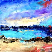 Ölfarben, Abstrakte landschaften, Spachteltechnik, Malerei