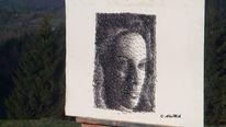 Faden, Nagel, Portrait, Mischtechnik
