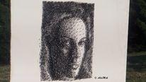 Faden, Portrait, Nagel, Mischtechnik