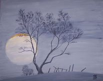 Winterlandschaft, Sonne, Kahle bäume, Malerei