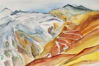 Berge, Alpenpass, Landschaftsmalerei, Herbstlandschaft