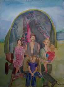 Figur, Familie, Aquarellmalerei, Wohnwagen