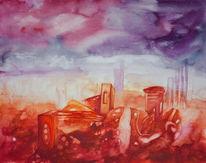 Geisterstadt, Surreal, Violett, Rot