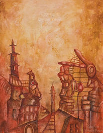 Stadt, Rot, Stark, Abstrakt