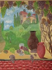 Wein, Mediterran, Fenster, Toskana