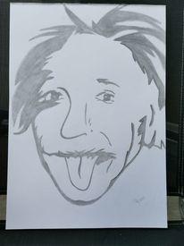 Bleistiftzeichnung, Einstein, Zunge, Malerei