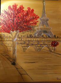 Rot, Eiffelturm, Brücke, Baum