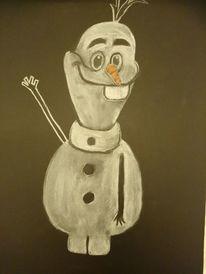 Animation, Schneemann, Weiß auf schwarz, Zeichnungen