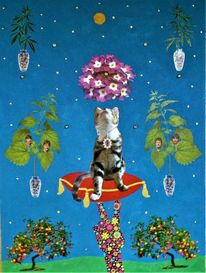 Katze, Cannabis, Himmel, Pflanzen
