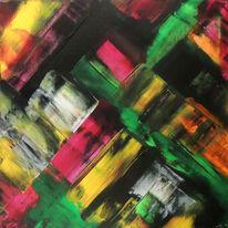 Acrylmalerei, Abstrakte kunst, Rakeltechnik, Malerei