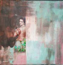 Frau mit rose, Abstrakt, Person, Struktur