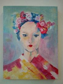 Portrait, Frau, Kimono, Acrylmalerei