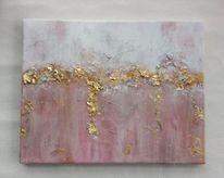 Abstrakt, Acrylmalerei, Rosa, Blattgold