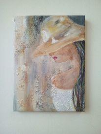 Frau, Hut, Strukturmasse, Malerei